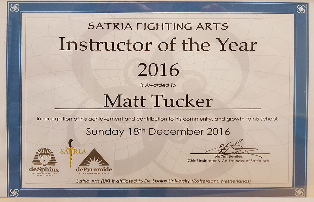 Warrior Arts and Fitness - Matt Tucker Instructor Of The Year
